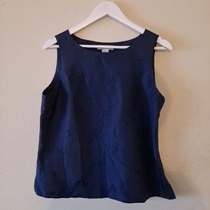 Navy Blue Crew Neck Embroidered Silk Top